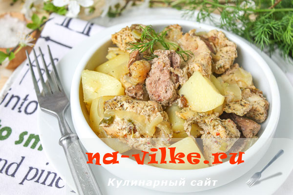 Тушеный в духовке кролик с картошкой
