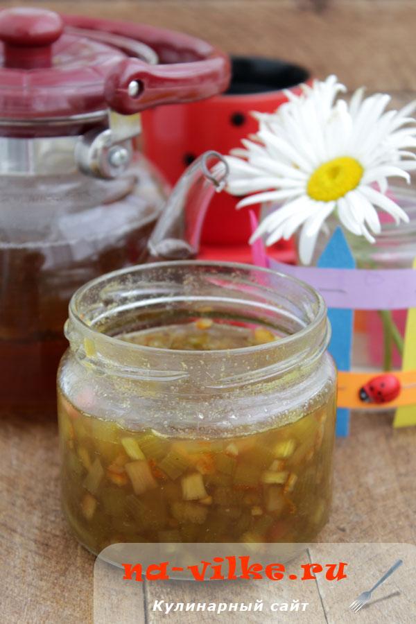 Варенье из ревеня с апельсиновым соком и цедрой
