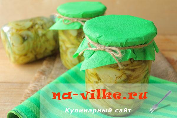 Салат на зиму из маринованных в собственном соку кабачков