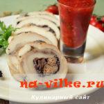 Рулет из свиного сала и куриной печени
