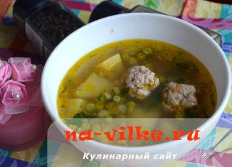 Домашний суп с фрикадельками и молодым горохом