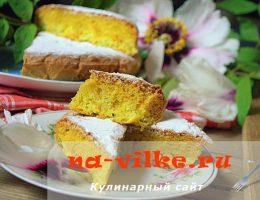 Ароматный воздушный бисквит с цедрой апельсина и ревенем