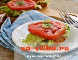 Чесночные гренки с помидорами и баклажанами