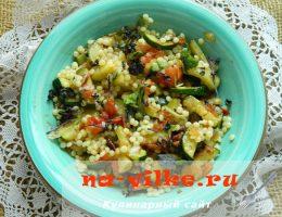 Приготовление кускуса с помидорами, цуккини, базиликом