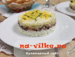 Салат Мимоза из консервов без картофеля