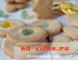 Вкусное праздничное песочное печенье с мармеладом