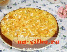 Заливной пирог с дыней на кефире