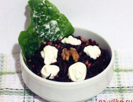 Салат свекла с черносливом и грецким орехом