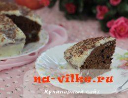 Домашний торт на основе шоколадной глазури с заварным кремом