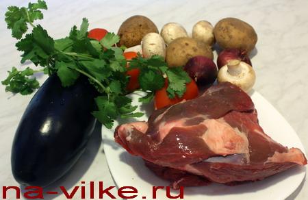 Тазобедренная часть баранины с овощами