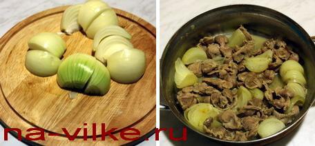Куриные желудки и лук