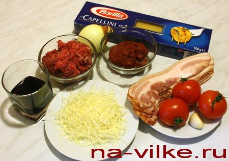 Спагетти Болоньезе - ингредиенты
