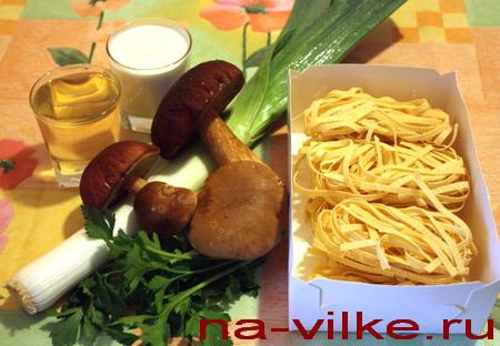 Грибы и паста
