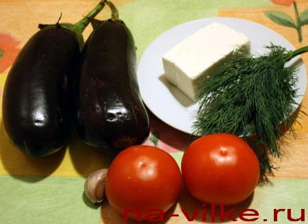 Баклажаны, помидоры и брынза