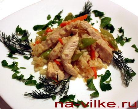 Куриное филе с рисом и овощами