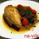 Порция курицы со сладким перцем и маслинами