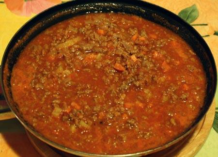 Мясной соус для лазаньи