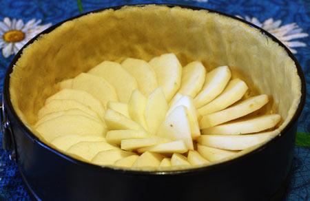 Дольки яблок в форме для выпекания торта