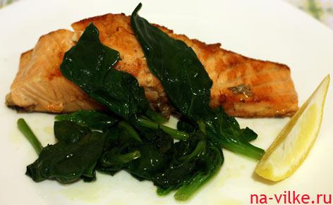 Филе лосося со шпинатом