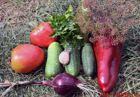 Овощи для салата дачного