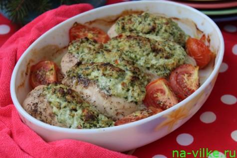 Фаршированные куриные грудки с помидорами