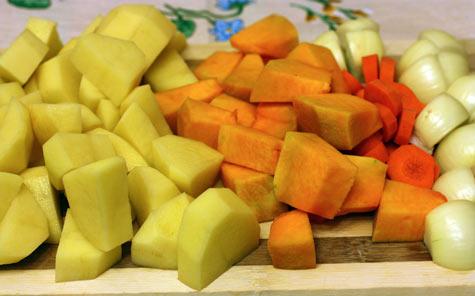 Овощи нарезанные крупно