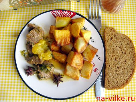 Телятина с апельсинами и картофелем