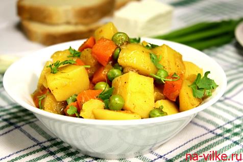 Овощное рагу с зеленым горошком