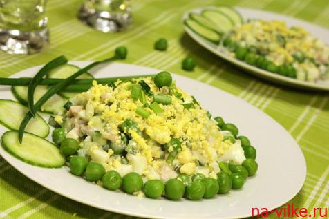 Диетический салат с куриным филе и зеленым горошком