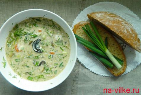Суп из сушеных грибов со сметаной