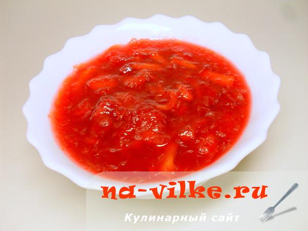 Джем из красного грейпфрута и персиков - приготовление в хлебопечке