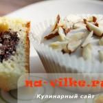 Кексы (маффины) с маком под белым шоколадом с миндалём