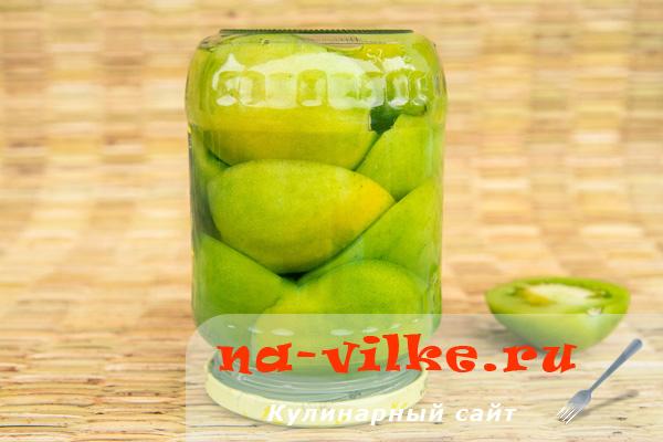 Маринованные зеленые помидоры с аспирином на зиму