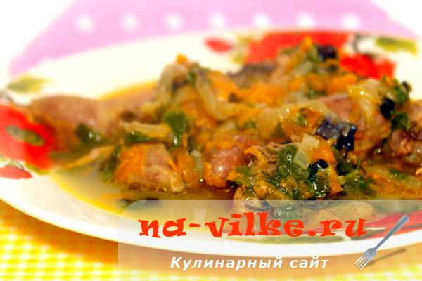 Куриные сердечки с овощами и зеленью