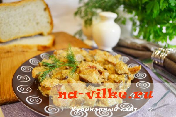Свинина с грибами с мультиварке, тушеные в молоке и с сыром