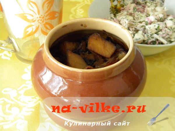 Картошка с сушеными подберезовиками в горшочках