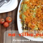 Необычный торт из жареных кабачков с овощами