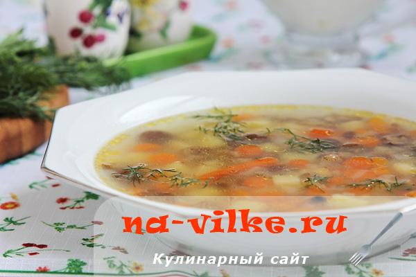 Суп из мороженых опят с мини морковками в мультиварке