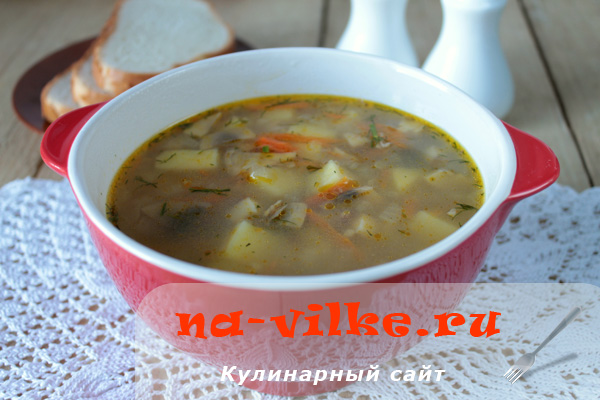 Грибной суп из шампиньонов с гречкой в мультиварке