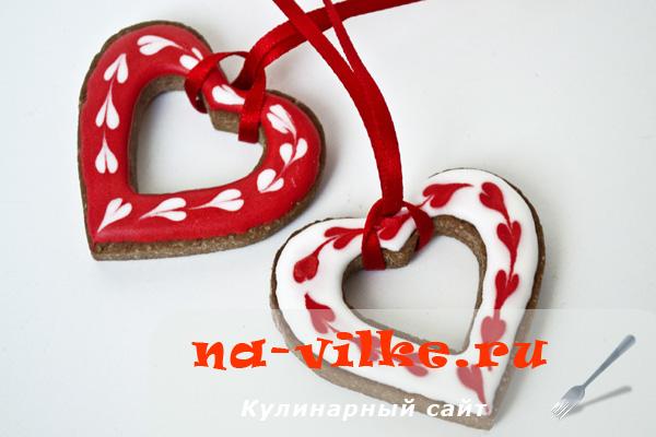 Шоколадное печенье Валентинки с айсингом