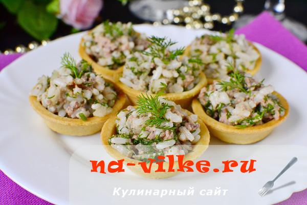 Салат Вкусная корзинка - с печенью трески и рисом