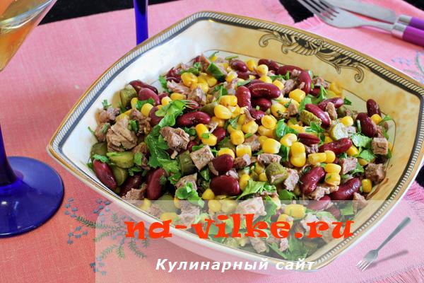 Мясной салат с фасолью и кукурузой