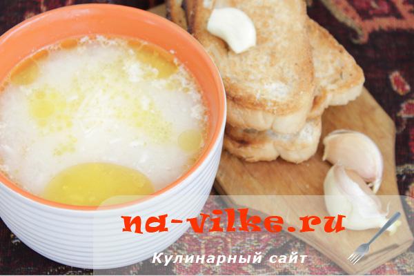 Куриный рисовый суп с сыром
