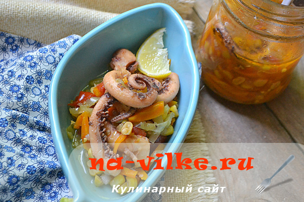 Щупальца кальмара с овощами