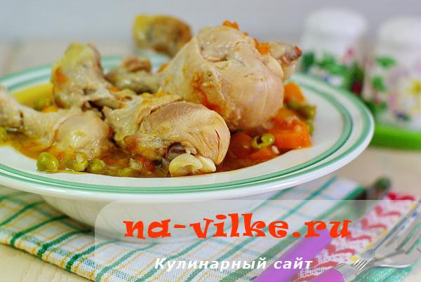 Куриные голени с зелёным горошком в мультиварке