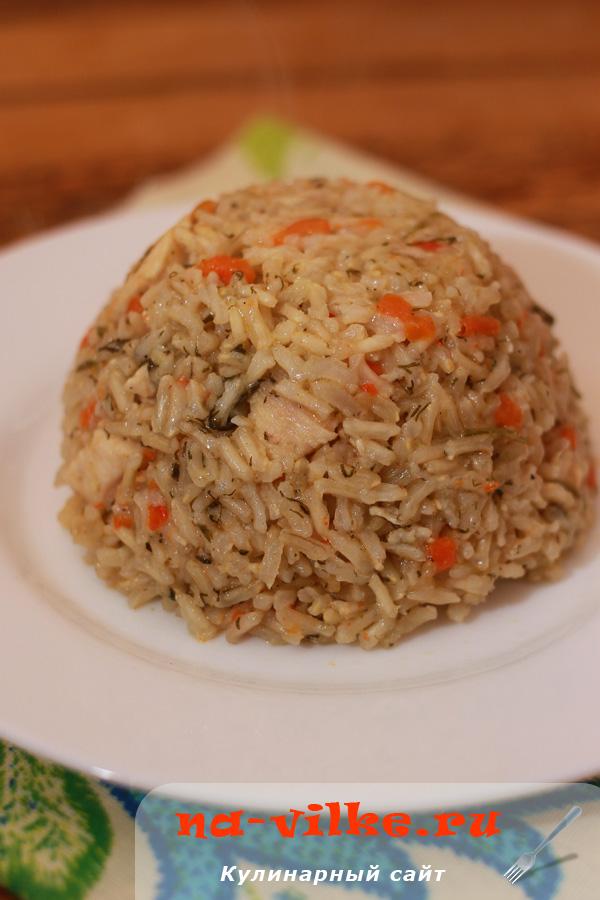 Плов с куриным филе и коричневым рисом в мультиварке