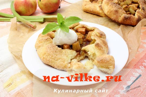 Яблочная галета с ревенем