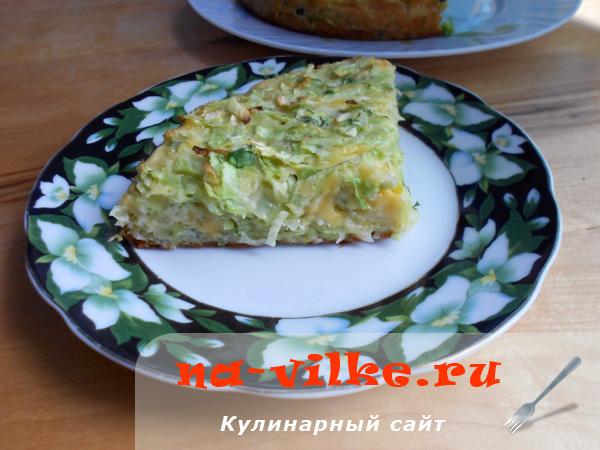 Ленивая капустная запеканка с сыром и яйцом в духовке