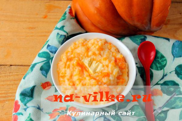 Молочная рисовая каша с тыквой в мультиварке