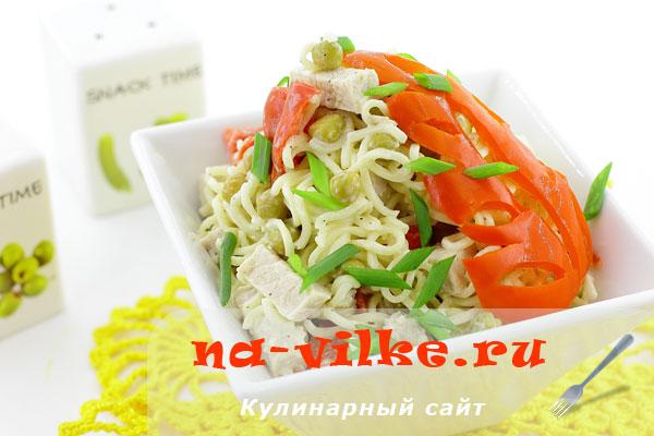 Готовим салат на основе вермишели быстрого приготовления